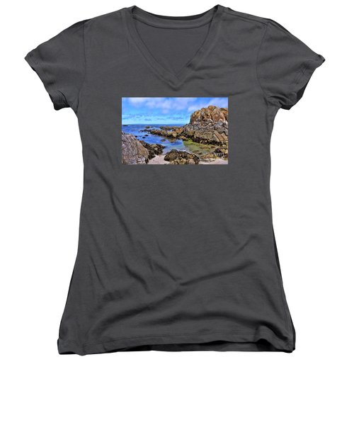 Shores Of Pacific Grove  Women's V-Neck T-Shirt (Junior Cut) by Gina Savage