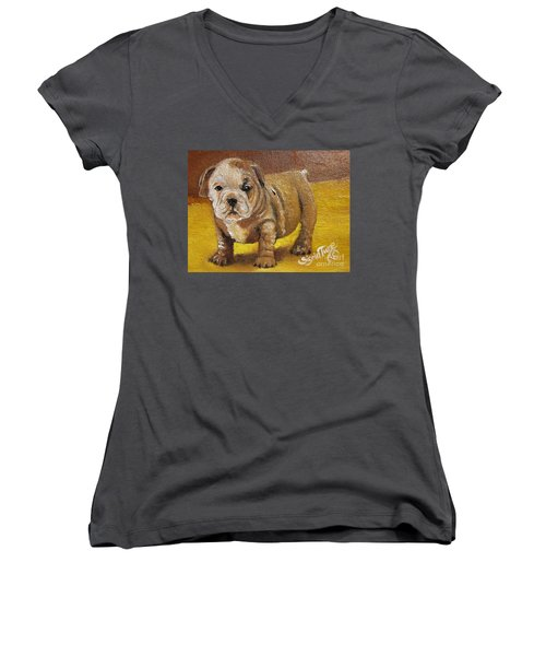 Women's V-Neck T-Shirt (Junior Cut) featuring the painting Shortstop by Sigrid Tune