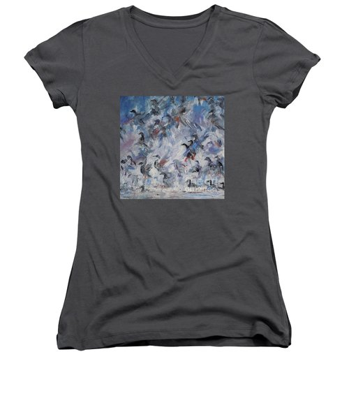 Women's V-Neck T-Shirt (Junior Cut) featuring the painting Shots Fired by Ellen Anthony