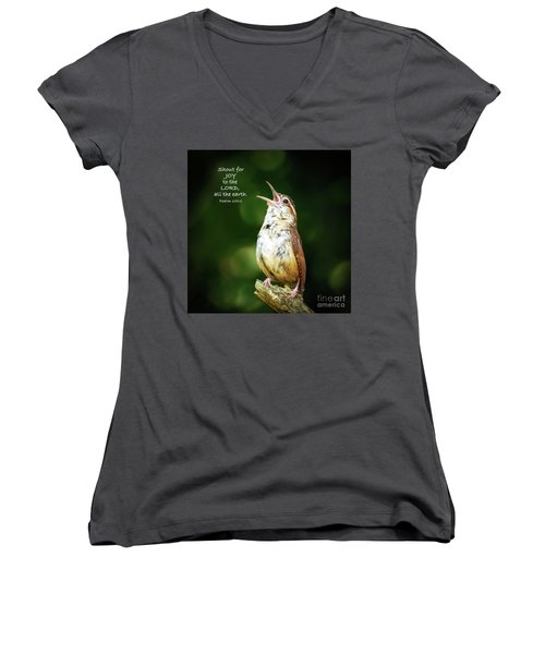 Women's V-Neck T-Shirt featuring the photograph Shout For Joy by Kerri Farley