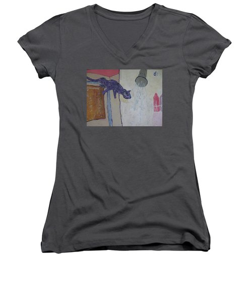 Shower Cat Women's V-Neck T-Shirt