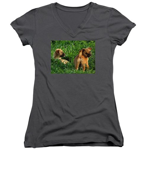 Women's V-Neck featuring the digital art Showing Her Mutt. by Shelli Fitzpatrick