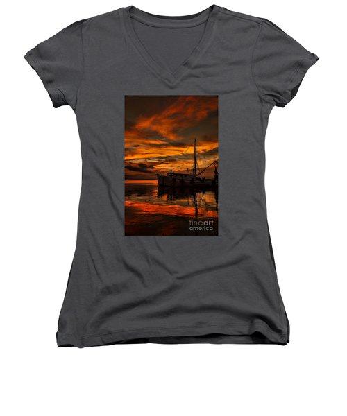 Shrimp Boat Sunset Women's V-Neck