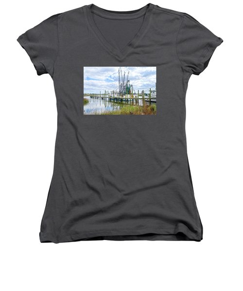 Shrimp Boats Of St. Helena Island Women's V-Neck T-Shirt (Junior Cut) by Scott Hansen