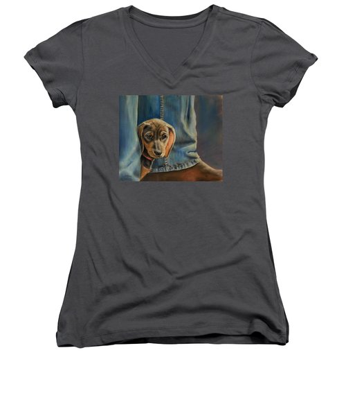 Women's V-Neck T-Shirt (Junior Cut) featuring the painting Shy Boy by Ceci Watson
