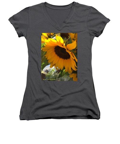 Shy Sunflower Women's V-Neck T-Shirt (Junior Cut) by Nance Larson