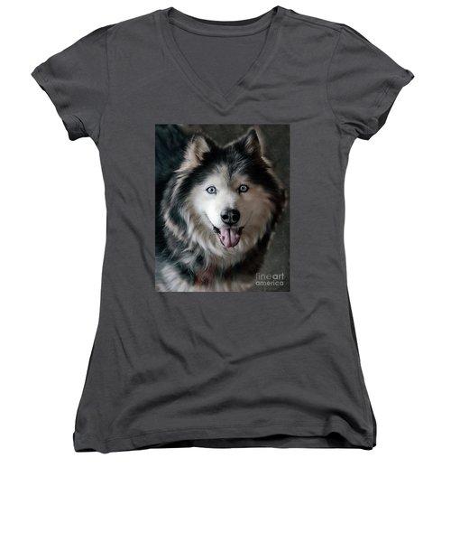 Siberian Husky Women's V-Neck