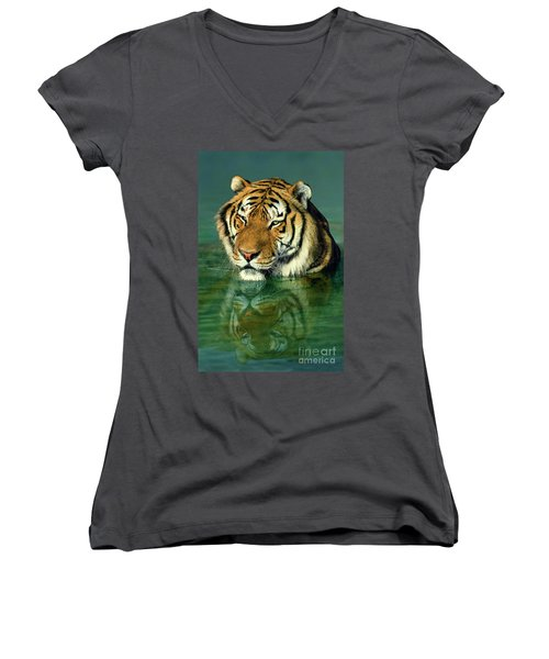 Siberian Tiger Reflection Wildlife Rescue Women's V-Neck T-Shirt (Junior Cut) by Dave Welling