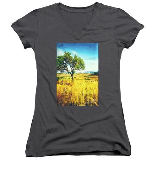 Women's V-Neck T-Shirt featuring the photograph Sicilian Landscape With Tree by Silvia Ganora