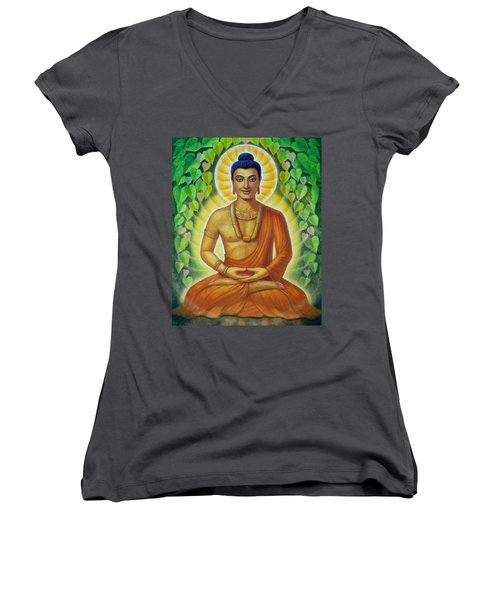 Women's V-Neck T-Shirt (Junior Cut) featuring the painting Siddhartha by Sue Halstenberg