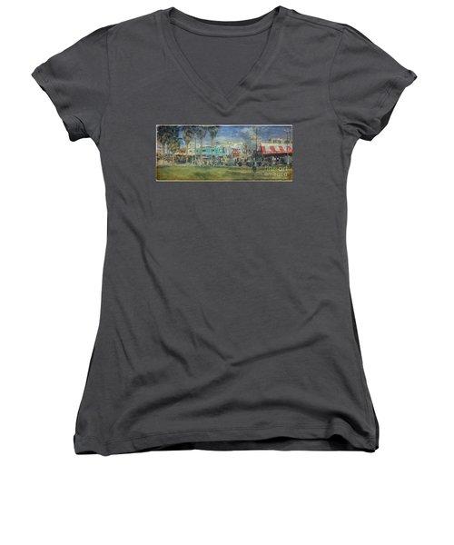 Women's V-Neck T-Shirt (Junior Cut) featuring the photograph Sidewalk Cafe Venice Ca Panorama  by David Zanzinger