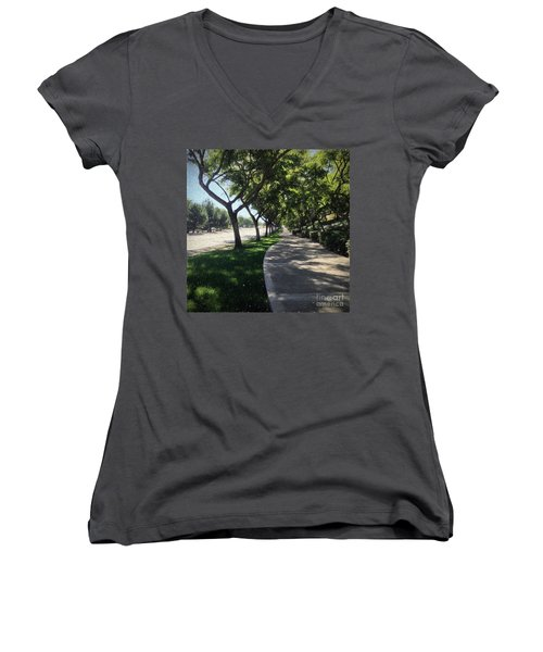 Sidewalk Counseling Women's V-Neck T-Shirt (Junior Cut) by Sharon Soberon