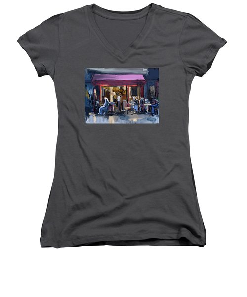Sidewalk Scene Women's V-Neck T-Shirt