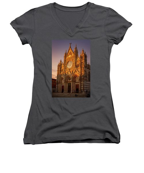 Women's V-Neck T-Shirt (Junior Cut) featuring the photograph Siena Italy Cathedral Sunset by Joan Carroll