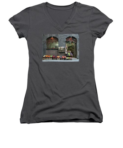 Women's V-Neck T-Shirt (Junior Cut) featuring the photograph Siena Italy Fruit Shop by Mark Czerniec
