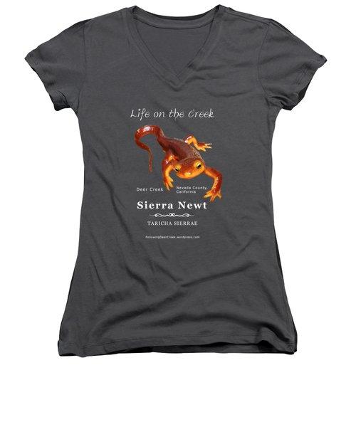 Sierra Newt - Color Newt - White Text Women's V-Neck T-Shirt (Junior Cut) by Lisa Redfern