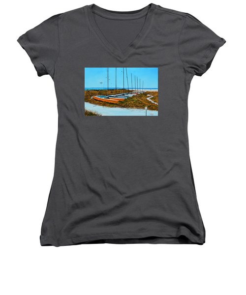 Siesta Key Access #8 Catamarans Women's V-Neck T-Shirt