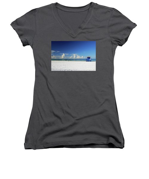 Women's V-Neck T-Shirt featuring the photograph Siesta Key Life Guard Shack by Gary Wonning