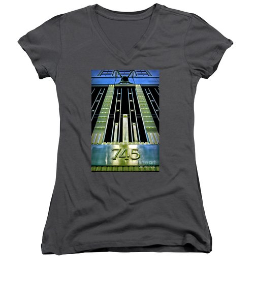 Women's V-Neck T-Shirt (Junior Cut) featuring the photograph Sights In New York City - Classy Address by Walt Foegelle
