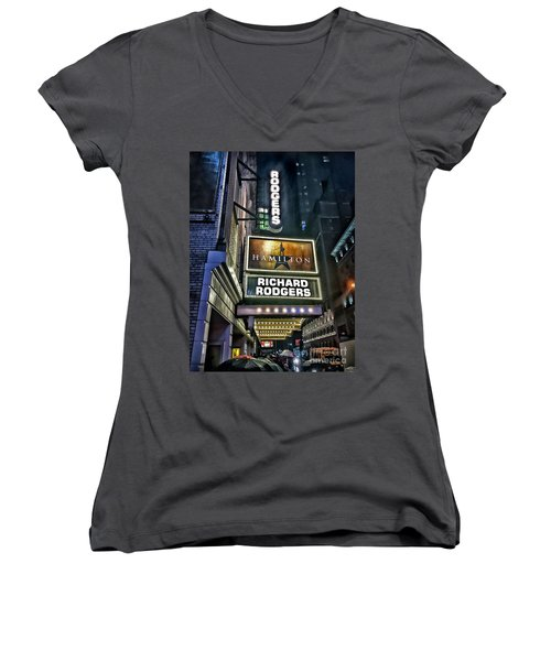 Women's V-Neck T-Shirt (Junior Cut) featuring the photograph Sights In New York City - Hamilton Marquis by Walt Foegelle