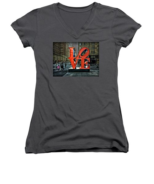 Women's V-Neck T-Shirt (Junior Cut) featuring the photograph Sights In New York City - Love Statue by Walt Foegelle