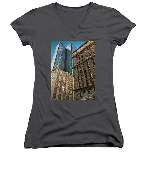 Women's V-Neck T-Shirt (Junior Cut) featuring the photograph Sights In New York City - Old And New 2 by Walt Foegelle