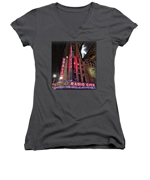 Women's V-Neck T-Shirt (Junior Cut) featuring the photograph Sights In New York City - Radio City by Walt Foegelle