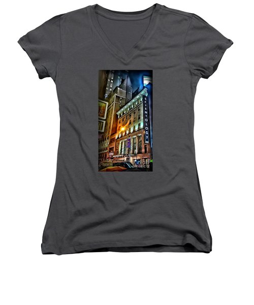 Women's V-Neck T-Shirt (Junior Cut) featuring the photograph Sights In New York City - Scientology by Walt Foegelle