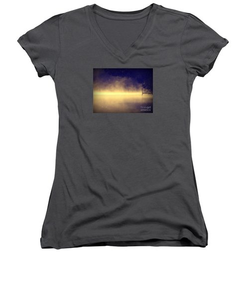 Women's V-Neck T-Shirt (Junior Cut) featuring the photograph Silent Lake by France Laliberte