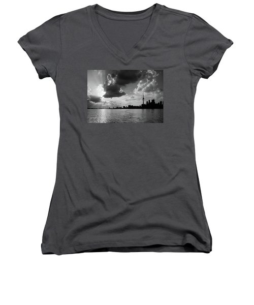 Silhouette Cn Tower Women's V-Neck T-Shirt (Junior Cut) by Nick Mares