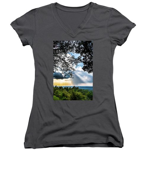 Women's V-Neck T-Shirt (Junior Cut) featuring the photograph Silhouettes At The Overlook by Shelby Young