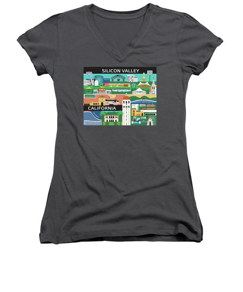Silicon Valley California Horizontal Scene - Collage Women's V-Neck (Athletic Fit)