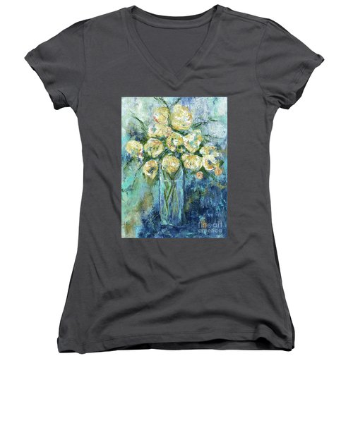 Silly Love Songs Women's V-Neck T-Shirt (Junior Cut) by Kirsten Reed