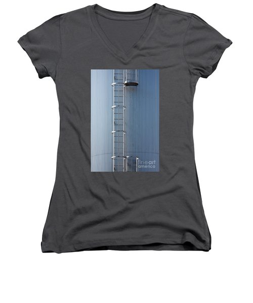 Silver Blue Silo With Steel Ladder. Women's V-Neck