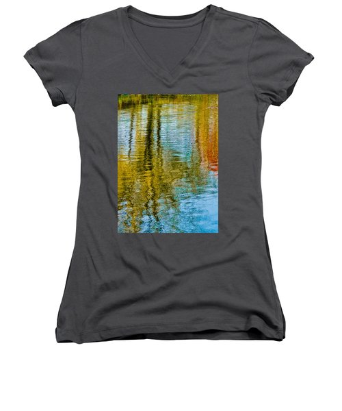 Silver Lake Autum Tree Reflections Women's V-Neck