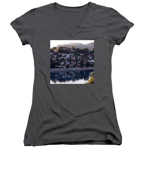 Silver Lake Reservoir And Hollywood Hills Women's V-Neck