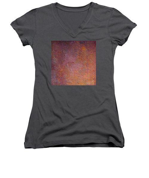 Women's V-Neck T-Shirt (Junior Cut) featuring the mixed media Silver Plum by Michael Rock