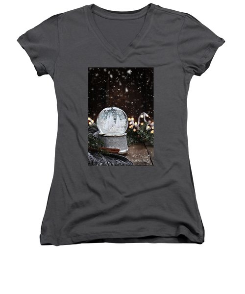 Women's V-Neck T-Shirt (Junior Cut) featuring the photograph Silver Snow Globe by Stephanie Frey