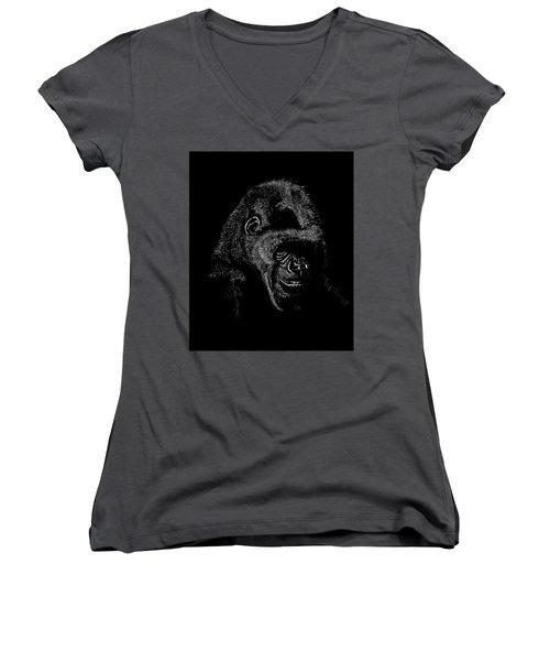 Silverback Women's V-Neck T-Shirt (Junior Cut) by Lawrence Tripoli
