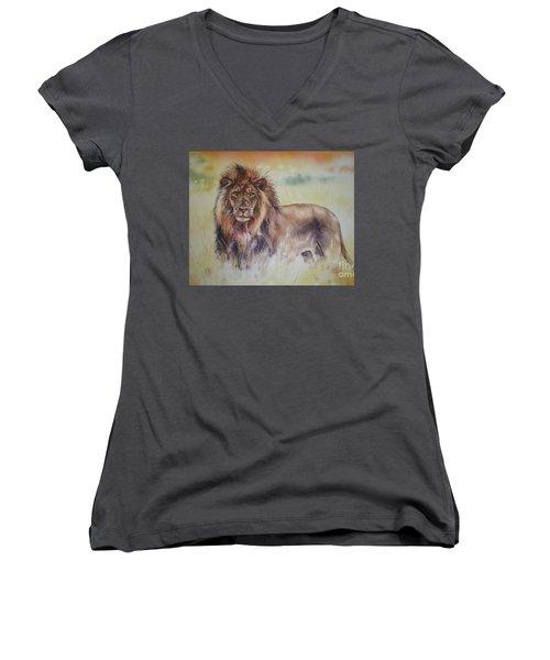 Women's V-Neck T-Shirt (Junior Cut) featuring the painting Simba by Sandra Phryce-Jones