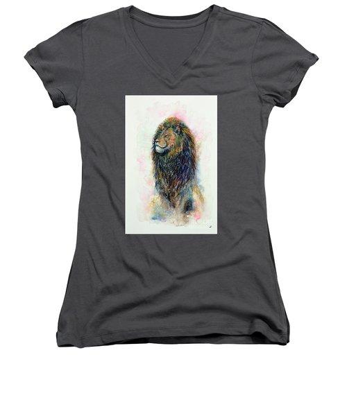 Women's V-Neck T-Shirt (Junior Cut) featuring the painting Simba by Zaira Dzhaubaeva