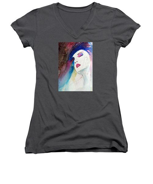 Women's V-Neck T-Shirt (Junior Cut) featuring the painting Simonne by Ed Heaton