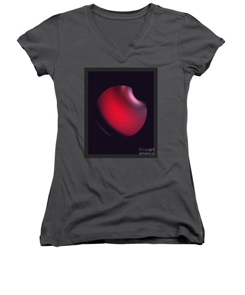 Women's V-Neck T-Shirt (Junior Cut) featuring the digital art Simplicity 12-2 by John Krakora