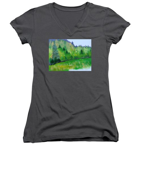 Women's V-Neck T-Shirt (Junior Cut) featuring the painting Simply Green by Rod Jellison