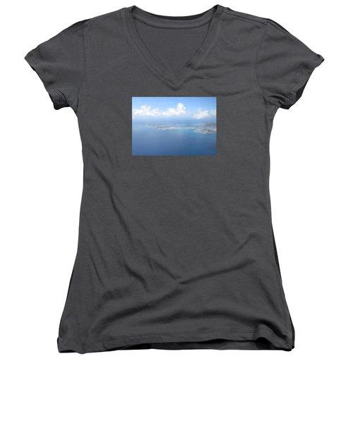Simpson Bay St. Maarten Women's V-Neck T-Shirt (Junior Cut) by Christopher Kirby