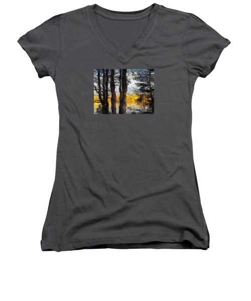 Simulated Van Gogh Scene Women's V-Neck (Athletic Fit)