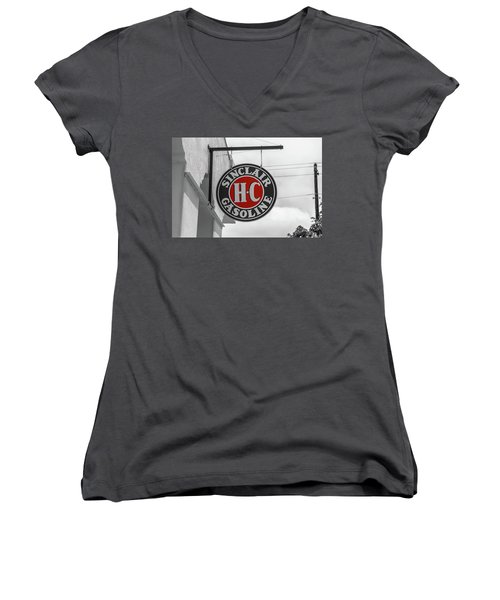 Sinclair Gasoline Round Sign In Selective Color Women's V-Neck