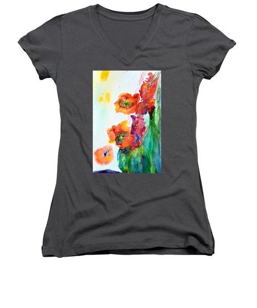 Sing Out Women's V-Neck T-Shirt (Junior Cut) by Beverley Harper Tinsley