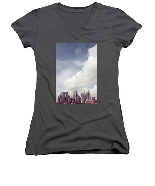 Women's V-Neck T-Shirt (Junior Cut) featuring the photograph Singapore Cityscape by Joseph Westrupp