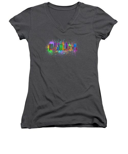 Singapore Skyline Paint Splatter Illustration Women's V-Neck T-Shirt (Junior Cut) by Jit Lim